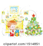 Clipart Of A Happy Caucasian Boy Opening A Gift On Christmas Morning Royalty Free Vector Illustration