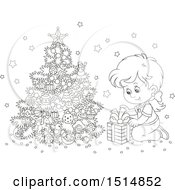 Clipart Of A Black And White Happy Girl Opening A Gift On Christmas Morning Royalty Free Vector Illustration