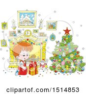Clipart Of A Happy White Boy Opening A Gift On Christmas Morning Royalty Free Vector Illustration