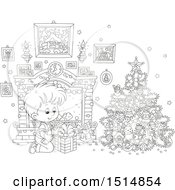 Clipart Of A Black And White Happy Boy Opening A Gift On Christmas Morning Royalty Free Vector Illustration