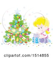 Clipart Of A Happy Caucasian Girl Opening A Gift On Christmas Morning Royalty Free Vector Illustration