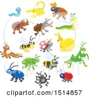 Clipart Of Cute Bugs Royalty Free Vector Illustration by Alex Bannykh