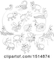 Clipart Of Black And White Cute Bugs Royalty Free Vector Illustration