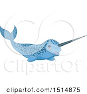 Clipart Of A Cute Speckled Blue Narwhal Royalty Free Vector Illustration