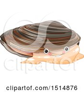 Clipart Of A Cute Mussel Royalty Free Vector Illustration