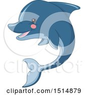 Clipart Of A Cute Blue Dolphin Royalty Free Vector Illustration