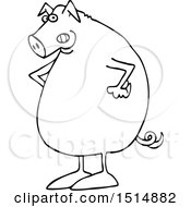Clipart Of A Cartoon Black And White Mad Pig With Hands On His Hips Royalty Free Vector Illustration