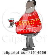 Clipart Of A Cartoon Black Man In An Ugly Christmas Sweater Holding A Glass Of Wine Royalty Free Vector Illustration