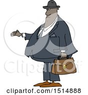 Cartoon Chubby Black Male Debt Collector
