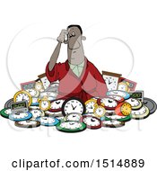 Clipart Of A Confused Black Man In A Pile Of Clocks Royalty Free Vector Illustration