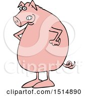 Clipart Of A Cartoon Mad Pig With Hands On His Hips Royalty Free Vector Illustration