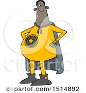 Clipart Of A Cartoon Chubby Black Male Super Hero With His Hands On His Hips Royalty Free Vector Illustration