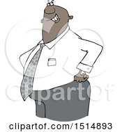 Clipart Of A Cartoon Happy Chubby Black Business Man With His Hands On His Hips Royalty Free Vector Illustration