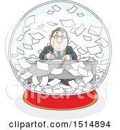 Poster, Art Print Of Cartoon Caucasian Business Man Working In A Snowglobe Of Paperwork