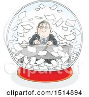 Cartoon Caucasian Business Man Working In A Snowglobe Of Paperwork