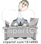 Clipart Of A Cartoon Caucasian Business Man With His Balloon Head Floating Away Royalty Free Vector Illustration
