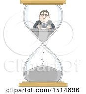 Cartoon Caucasian Business Man Working In An Hourglass