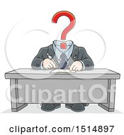 Clipart Of A Cartoon Headless Business Man With A Question Mark Royalty Free Vector Illustration