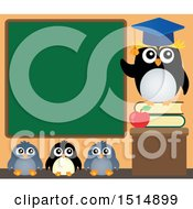 Clipart Of A Professor Penguin And Students Under A Chalkboard Royalty Free Vector Illustration