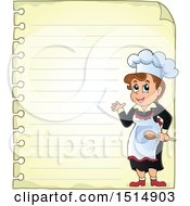Sheet Of Ruled Paper And A Female Chef