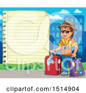 Sheet Of Ruled Paper And A Male Tourist
