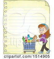 Clipart Of A Sheet Of Ruled Paper And A Woman Shopping Royalty Free Vector Illustration by visekart