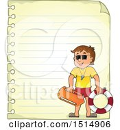 Sheet Of Ruled Paper And A Male Lifeguard