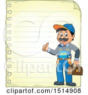 Poster, Art Print Of Sheet Of Ruled Paper And A Male Plumber