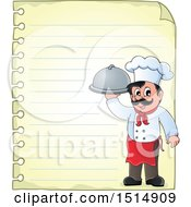 Sheet Of Ruled Paper And A Male Chef Holding A Platter