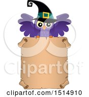 Clipart Of A Witch Owl Over A Parchment Scroll Page Royalty Free Vector Illustration
