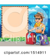 Poster, Art Print Of Male Tourist And Blank Sign