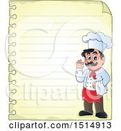 Sheet Of Ruled Paper And A Male Chef
