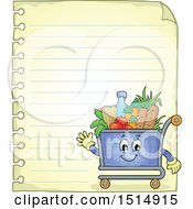 Clipart Of A Sheet Of Ruled Paper And A Shopping Cart Royalty Free Vector Illustration by visekart