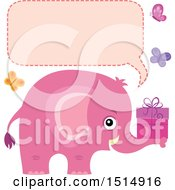Clipart Of A Pink Elephant Holding A Gift With Butterflies A Speech Balloon Royalty Free Vector Illustration by visekart