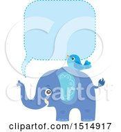 Clipart Of A Blue Elephant And Bird With A Speech Balloon Royalty Free Vector Illustration
