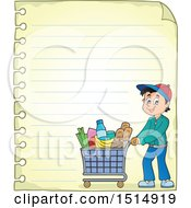 Clipart Of A Sheet Of Ruled Paper And A Man Shopping Royalty Free Vector Illustration by visekart