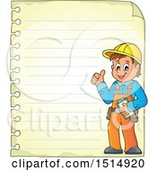 Sheet Of Ruled Paper And A Male Construction Worker