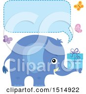 Clipart Of A Blue Elephant Holding A Gift With Butterflies A Speech Balloon Royalty Free Vector Illustration by visekart