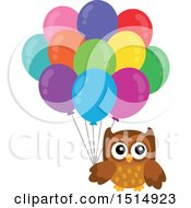 Clipart Of A Brown Owl Holding Balloons Royalty Free Vector Illustration by visekart