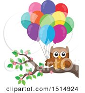 Brown Owl Holding Balloons On A Branch