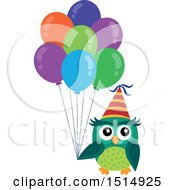 Green Party Owl Holding Balloons