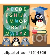 Clipart Of A Professor Penguin And Students Under An Alphabet Chalkboard Royalty Free Vector Illustration
