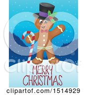 Clipart Of A Merry Christmas Greeting And Gingerbread Man Royalty Free Vector Illustration by visekart