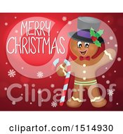 Clipart Of A Merry Christmas Greeting And Gingerbread Man On Red Royalty Free Vector Illustration by visekart