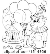 Clipart Of A Black And White Circus Bear Holding Balloons Royalty Free Vector Illustration