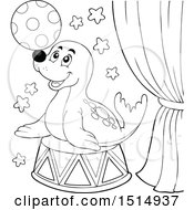 Clipart Of A Black And White Circus Seal Playing With A Ball Royalty Free Vector Illustration