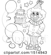 Black And White Clown Holding A Birthday Cake