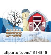 Clipart Of A Red Barn And Silo In The Winter Royalty Free Vector Illustration by visekart
