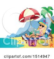 Girl Reading And Sun Bathing On A Beach