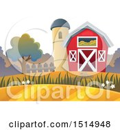 Clipart Of A Red Barn And Silo In The Fall Royalty Free Vector Illustration